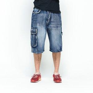 2020 Classic Mens Cargo Denim Shorts Hip Hop Multi Pockets Baggy Jeans Shorts Plus Size 42 44 46