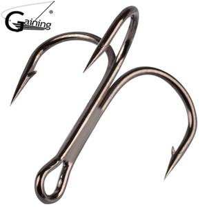 20Pcs lot Black Fishing Treble Hook 7cm 10cm High Carbon Steel Treble Overturned Hooks Fishing Tackle Round Bend Treble For Bass