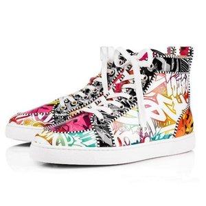Hot Luxury2019 ACE-Entwerfer-Marken-Rot grundiert verzierte Spitzen-Ebene-Schuhe Männer Frauen Mode High Cut Multicolor-Party-Liebhaber Freizeitschuhe c01