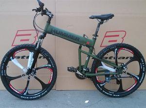 26 인치 접이식 자전거 산악 자전거 (21) 속도 디스크 브레이크 MTB 다운 힐 자전거 도로 자전거 여행 도구 알루미늄 프레임 BMX