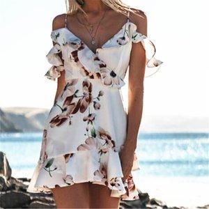 Mulheres vestido de verão 2020 Holiday Beach doce Ruffles Vestido de Verão Floral Boho elegante curto Mini Vestido Vestuário Moda HOT