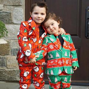 Xmas bambini del neonato Vestiti Di Natale Set 2019 Gentleman vestito convenzionale Pantaloni Blazer Cravatta Gentleman Outfits Abbigliamento 2Pcs