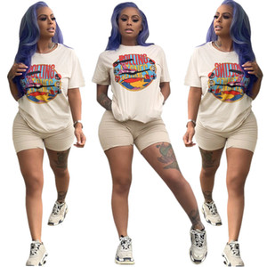 Two Piece Short Set Women Biker Shorts Sets Casual Cartoon 2pcs Tracksuit Summer Fashion Tops Short Pants Women Plus Size Outfit 2020