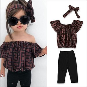 2020 New Hot Sale Girls Clothing Sets Summer Lovely Girl Tops+Pants+Headbands 3pcs Sets Kids Suit Children Outfits