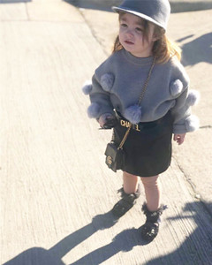 Toddler Baby Girls Autumn Winter Clothes Sweater Tops+Mini Skirt 2PCS Outfits