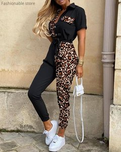 Le donne Leopard Print manica corta Splicing Patchwork Cintura tuta