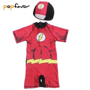 POPFAVOR Marca Meninos de uma peça só Swimsuit com ternos traje dos desenhos animados Natação Cap flash Crianças Swimwear banhos com crianças Boy Bodysuit