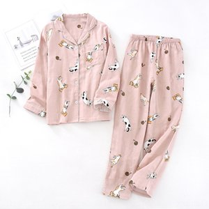 omHV0 Lovers' gauze lapel sleeping suit summer and clothes clothes home furnishing clothing autumn comfortable cotton double layer gauze com