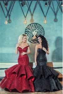 Strapless Evening Dresses Mermaid Prom Gowns Sequins Mermaid Floor Length vestido de novia robes de soiree