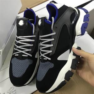 La moda masculina no dejar rastro zapatillas de piel de ante y cuero de la vendimia de nido de abeja de punto de la zapatilla de deporte de nylon formadores zapatos de los hombres con la caja US6-11