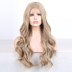 L Fashion Blonde 360 Lace Frontal Wig Pre Plucked With Baby Hair Brazilian Deep Water Wave Lace Front Wigs Synthetic Heat Resistant For