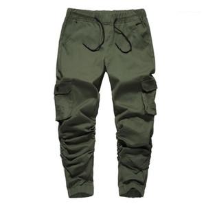 Calças Big bolso plissadas Leg Moda calças cargo casual mens tornozelo Banded Pants Mens Designer lápis