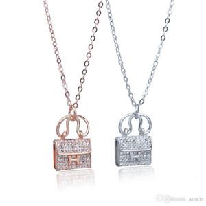 Argent 925 Designer collier pour femmes designer bijoux H sac pendentif collier avec chaîne en cristal pendentif de mariage cadeau de Saint Valentin