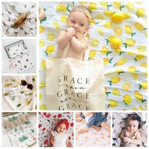 Baby Photo Blankets Flamingo Background Props Rose Cotton Print Swaddling Bedding Infant Wrap Letter Flower Wraps Newborn Bath Towel LT433