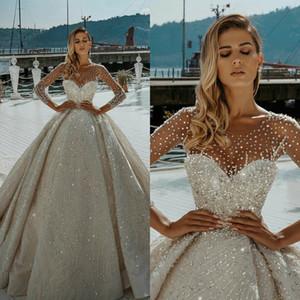 Luxury Arabic Wedding Dresses Jewel Neck Bling Sequins Beads Long Sleeve Wedding Gowns Sweep Train Rhinestone Vestidos De Novia