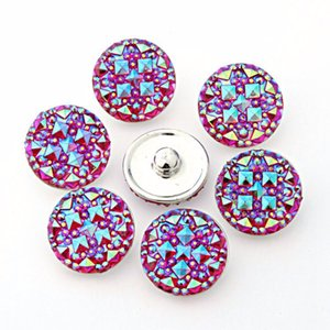 high quality Seven color Round resin ginger snaps Round glass snaps Bracelets fit 18mm snaps buttons jewelry ps0397