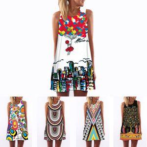 Frauen Designer-Kleider der Frauen Designer-Kleid 3D 2019 Weinlese-Druck-Sommer-Kleid böhmisches Strandkleid Sundresses Dashiki Hippie