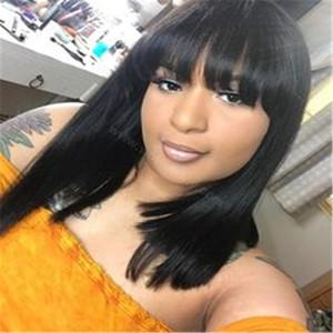 Soft Real Human Hair Bob brasileño peluca con flequillo plano Color negro Bob Natural pelucas para mujeres Corto recto Bob peluca de cabello humano