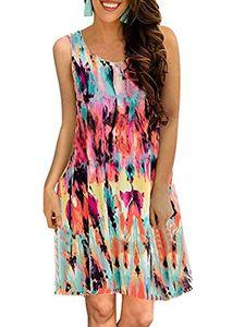Teeuiear Camiseta vintage para mujer Swing de verano Estilo étnico Chaleco Estampado floral Túnica Casual Playa Midi Loose Tank Dress