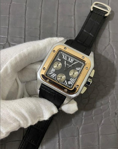 Top Quality Luxury Quartz watch DAY DATE mens full functional watch leather bezel butterfly Wristwatches