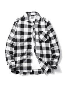 Varejo 2019 New Men Moda shirt mangas longas de alta qualidade 100% cottom Camisa Xadrez roupas masculinas