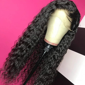 Boules de dentelle frontale perruques noires cheveux bébé cheveux longs lâche ondes de remplacement synthétique perruque résistant à la chaleur fibre 180% de haute densité naturelle