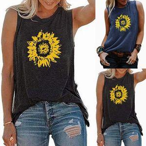 Camiseta de verano, las mujeres girasol impresión suelta cuello redondo blusa básica sin mangas Tops