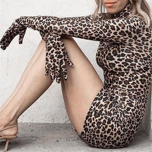 mulheres vestido sexy leopardo Imprimir Feminino vestido de manga comprida Luvas Vintage Club mulheres vestidos das senhoras além de roupas tamanho femme robe