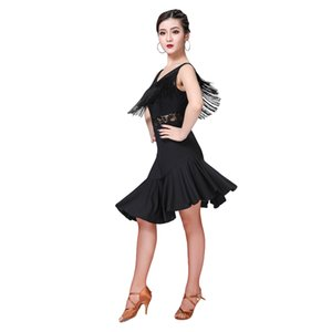 Adult lady Latin dance costume Irregular skirt tassel high quality latin dancing dress for women dance practice clothes