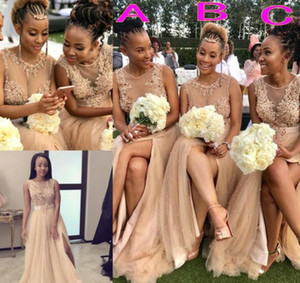 2020 Sexy Champagne African Split Front Bridesmaid Платья Платья Free Jewel Pearl Bear Tulle Wedding Party Parts Tulle Maid в честь платье