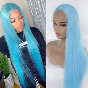 Sky-Blue Farbe volle Perücke Natürliche Haaransatz Synthetische Lace Front Perücken Glueless Hitzebeständige Faser Kunsthaar Perücken für Schwarz / Weiß Frauen