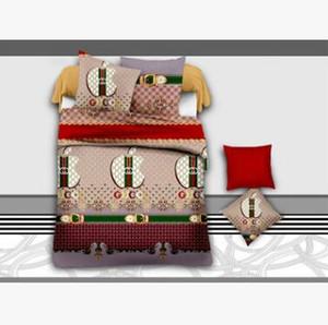 Haute qualité Impression réactive coton 4 pcs ensemble de literie comprennent housse de Couette Drap De Lit Taie d'oreiller linge de lit feuille 006
