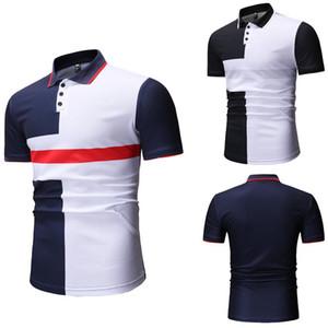 Contraste para hombre casual en color camisetas de la moda de manga corta con paneles Polos de diseño ancho de talle T Shirts Los hombres Ropa