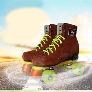 Hot nuovo adulti doppie linee pattinaggio scarpe in pelle di mucca pattini a rotelle quad stivali marrone per lo shopping online