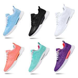 deportes caliente toda la venta mujeres de los hombres zapatos de color rosa de malla transpirable zapatos blancos negros deportes zapatillas de deporte de tamaño 36-45 envío libre ejecutan
