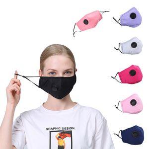 Máscara PM 2,5 cara cobrir a boca Respirador Dustproof anti-bacteriana lavável reutilizável com Vavle algodão Máscaras 100pcs T1I2233