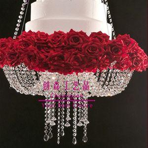 New hanging style k9 acrylic bead cake stand for wedding decoration,big cake holder,bling wedding chandelier cake stand