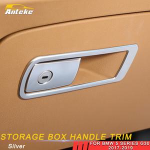 Passenger Car Acessórios inoxidável armazenamento Glove Box Handle Quadro guarnição Decoração tampa da etiqueta para o BMW 5 Series G30 2017-2019