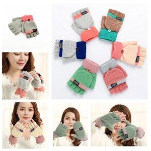 Теплый Matching флип двойного назначения перчатки Женщины вязать Флип Половина Finger сенсорный экран Перчатки сгущает теплая шерсть митенки 6 цвет