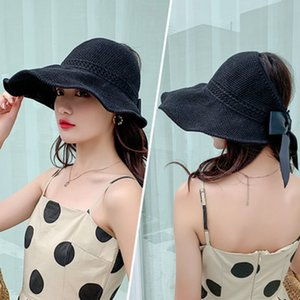 Пустой топ Bowknot Дышите Hat лета женщин Защита от солнца Bowknot Fold соломы Hat Открытый Visor Caps LJJJ76