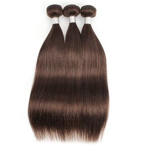 Marrón oscuro 3 paquetes de la extensión del pelo recto de color # 4 del chocolate humana marrón pelo brasileño indio peruano trama del pelo de Malasia