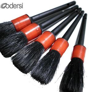 5pcs suave jabalí natural de limpieza del cepillo de pelo fijado para el Auto Car Detailing Detalle de cepillo del coche Exterior Interior Cepillos de limpieza
