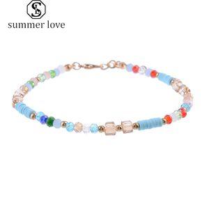 Cavigliere moda tallone colorato di cristallo per monili delle donne sandali a piedi nudi del piede del calzino del braccialetto di Boemia della spiaggia di estate branello di fascino regalo-Y
