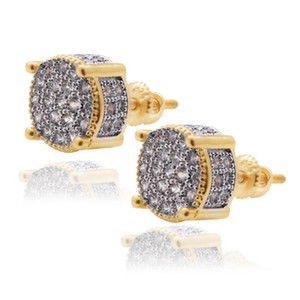 Hip Hop Jewelry Creative Circle Shape Gold With Diamond Women Alloy Plating Ear Studs Fashion Design Jewelry
