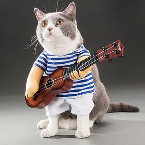 Pet Gitar Kostüm-Köpek Kostüm Komik Kedi Giysileri Köpekler Kediler Süper Komik Çılgın Gitarist Tarzı Pet Giysi Cadılar Bayramı Noel için En Iyi Hediye