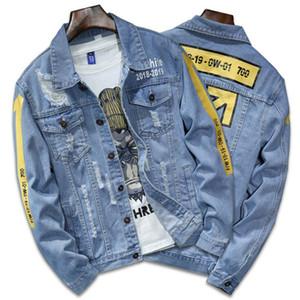 고품질 데님 재킷 남성 찢어진 구멍 망 Lt 블루 진 재킷 새로운 2019 가을 / 겨울 의류 세척 남성 데님 코트