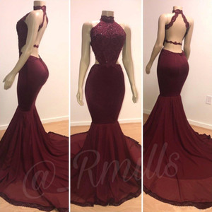 Neue Burgund Prom Party Kleider 2019 Echte Schaufensterpuppen Halter Neck Open Back Sexy Cutaway Side Appliques Pailletten Lange Zug Abendkleider