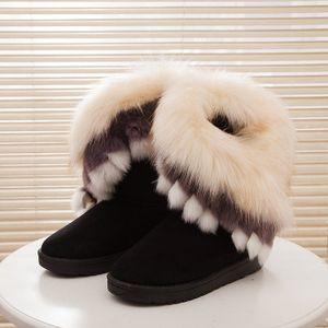 2019 новый стиль женщин снег Ботильоны Женский Fur Сапоги зимние Warm Австралия полусапожки Мода Обувь Botas лисицы обувь