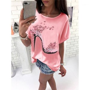 Short Sleeve Sweet Style Tops Fashion Ladies Clothing Summer Womens Designer Casual Tshirts High Heeled Shoes Printed