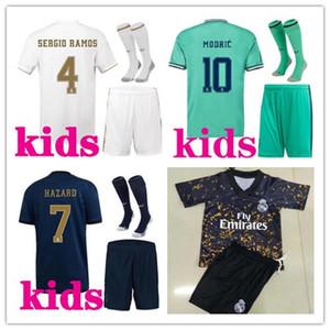 crianças 2019 2020 kits de futebol Real Madrid camisa de futebol 19/20 Camiseta de futbol PERIGO DE BENZEMA ISCO MODRIC crianças kits footbal